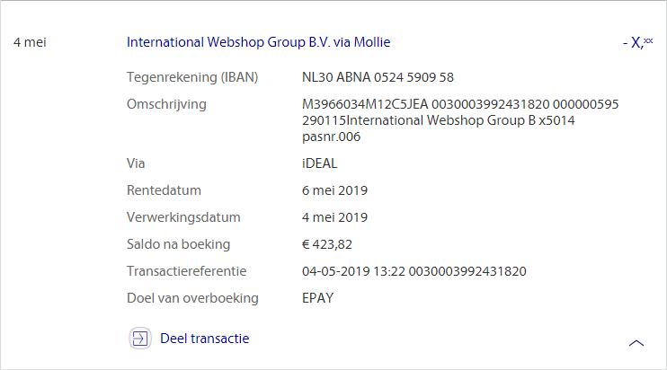 Discrete betaling International Webshop Group / Pleasure-toyz.nl